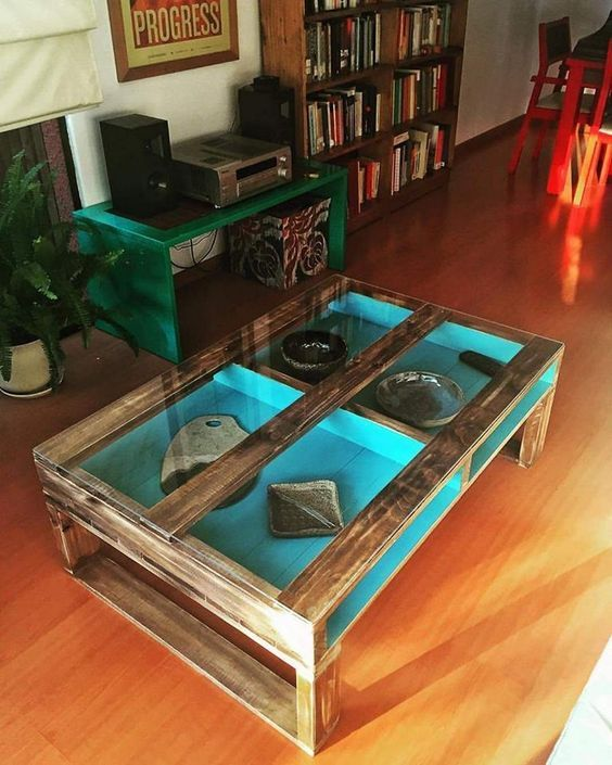 Pallet Table with Glass Top and Storage