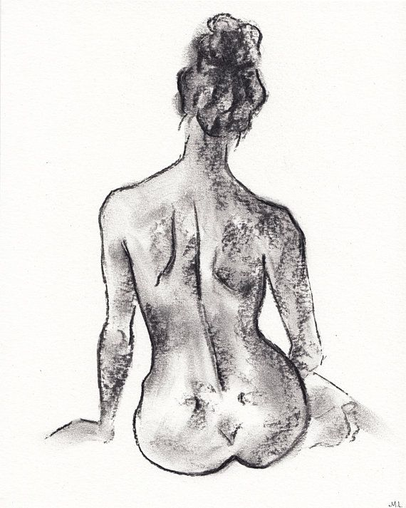 Feminine nude charcoal sketch Charcoal drawing Sketch of a girl. Nude determine drawing Unique paintings Figurative artwork Girl silhouette 8×10