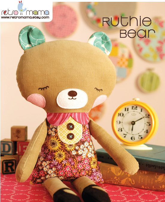 Ruthie Bear Doll PDF Sewing Pattern  - I think I NEED to make one for Eve for Christmas! I wonder if I will have the time!