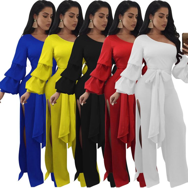 Fashion One Shoulder Tiered Bell Sleeves High Slit Jumpsuit Evening Playsuit