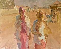 Isaac Israels     Israels' use of pinks and yellows has a counterintuitive effect that seems to communicate oppression, or at least a constricted freedom.  Interesting that he painted a colonial world governed by imperialist powers.  psl