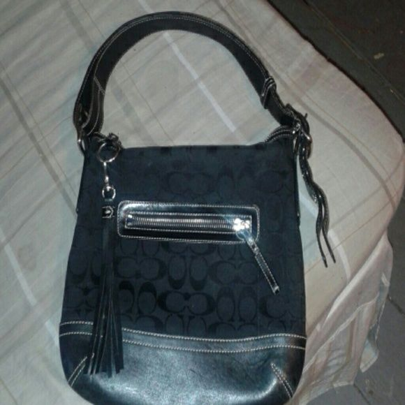 Black on Black Coach Purse All Black Coach Purse , Black Strap Good Condition ONLY WORN TWICE Coach Bags