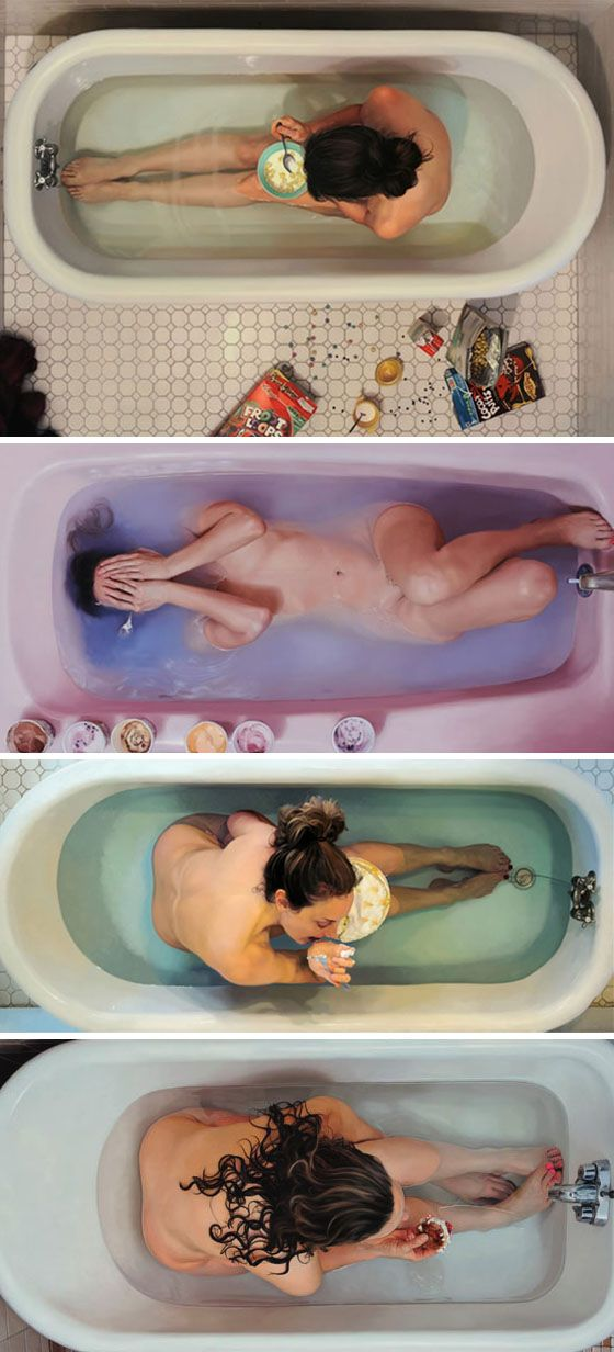 Eating in a tub by Lee Price, {contemporary realist artist hyperreal discreet nude women in bathtubs paintings}