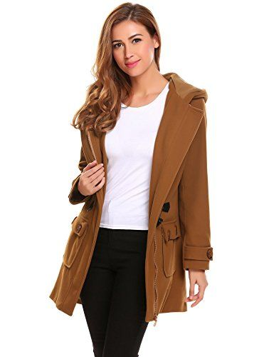 Elesol Women's Hoodie Plus Size Jacket Wool Blend Duffle Toggle Pea Coat Brown XXL