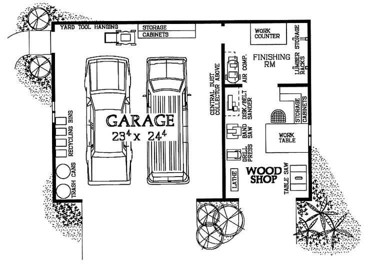 Woodshop garage combo hwbdo08032 house plan from for Shop house combination plans