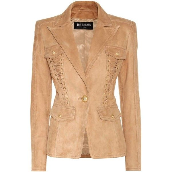 Embellished suede blazer ($5,550) ❤ liked on Polyvore featuring outerwear, jackets, blazers, embellished jacket, suede blazer, suede blazer jacket, balmain blazer and beige jacket