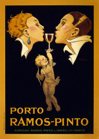 Where there is no wine there is no love. Ramos-Pinto Porto, c. 1920. Prints from $15. #vintage #wine #port #love