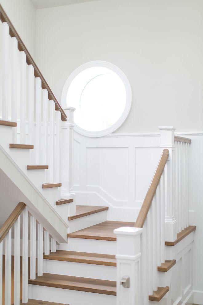 Stair rails + floors + colors |Benjamin Moore Decorator's White with Benjamin Moore Revere Pewter