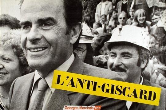 Affiche de 1981 en faveur du candidat communiste Georges Marchais. L' anti-Giscard