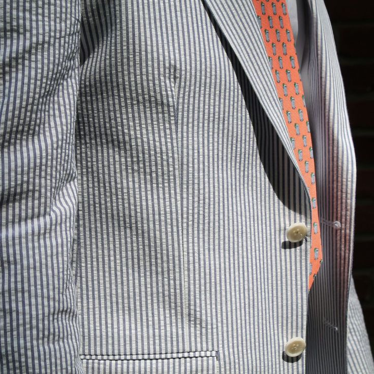 Two Button Seersucker Suit in Blue by Hardwick Clothes