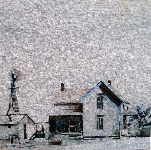Family farm 6x6 inch, oil on panel by Ruth Shively.Farms Originals, Art Ruth, Families Farms, Farms 6X6, Shive Painting, Ruth Shive