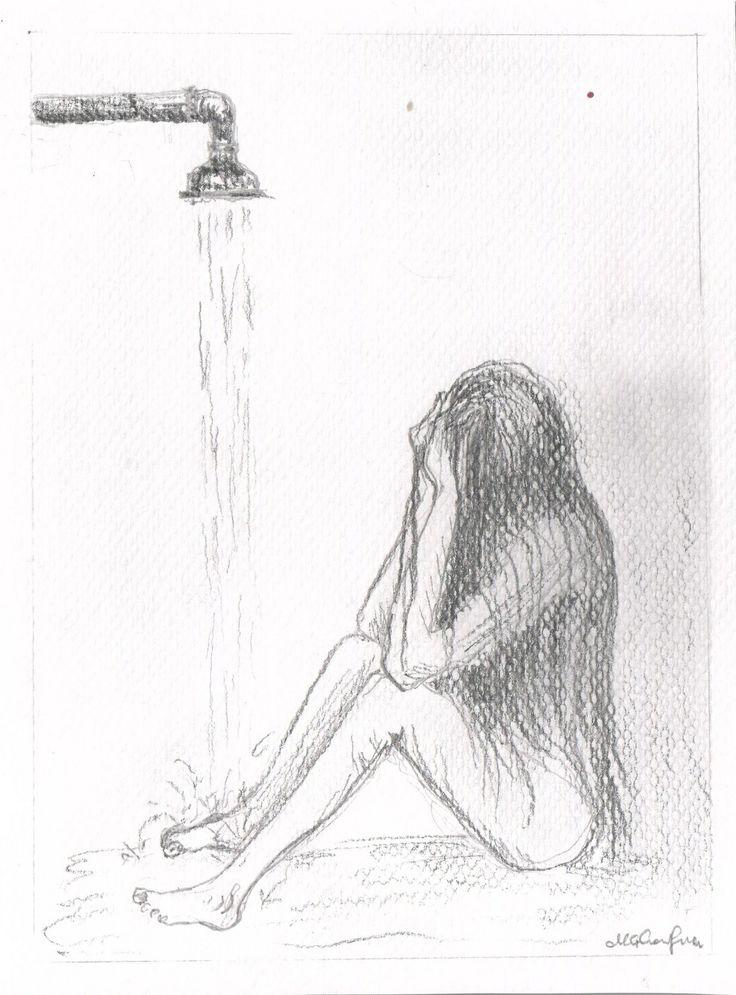 #shower #despair #water #bathroom #crying #hair