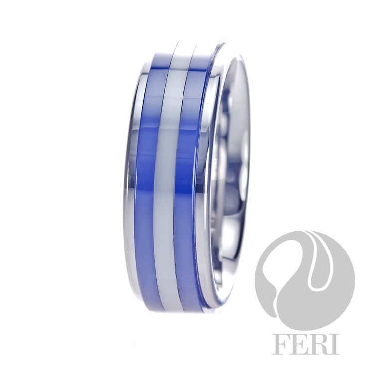 FERI Plangsten - Ring - Plangsten ring - Blue shell inlayed - Dimension: 8mm (Width)  FERI Tungsten, Plangsten and Hi-Tech Ceramic collections are unique with deep luster from within. The flawless features and indestructible nature of FERI Tungsten, Plangsten and Hi-Tech Ceramic pieces will create an everlasting beauty and confidence.  www.gwtcorp.com/ghem or email fashionforghem.com for big discount