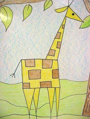shapes drawing using geometric shape giraffe drawings elementary artsonia animals kindergarten grade meet lessons kinder cedar creek lesson projects animal