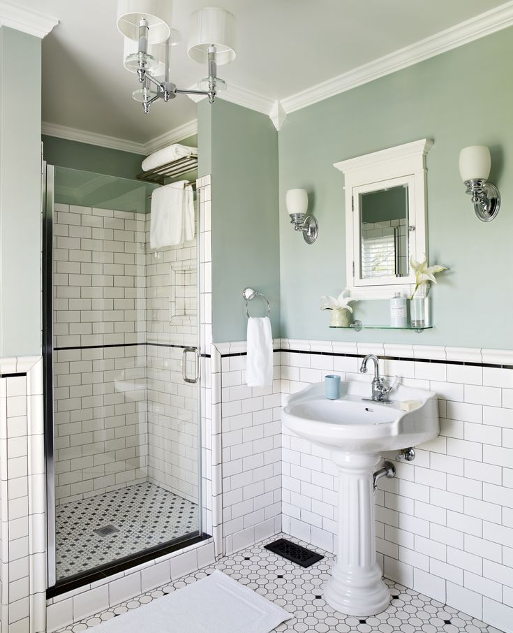 First-Floor Bath -- tile and wall color of my dreams........ #goals