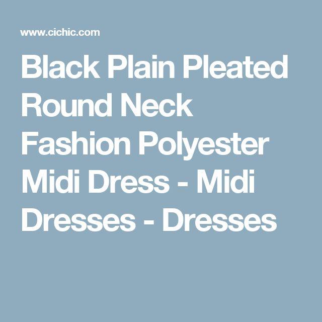 Black Plain Pleated Round Neck Fashion Polyester Midi Dress - Midi Dresses - Dresses
