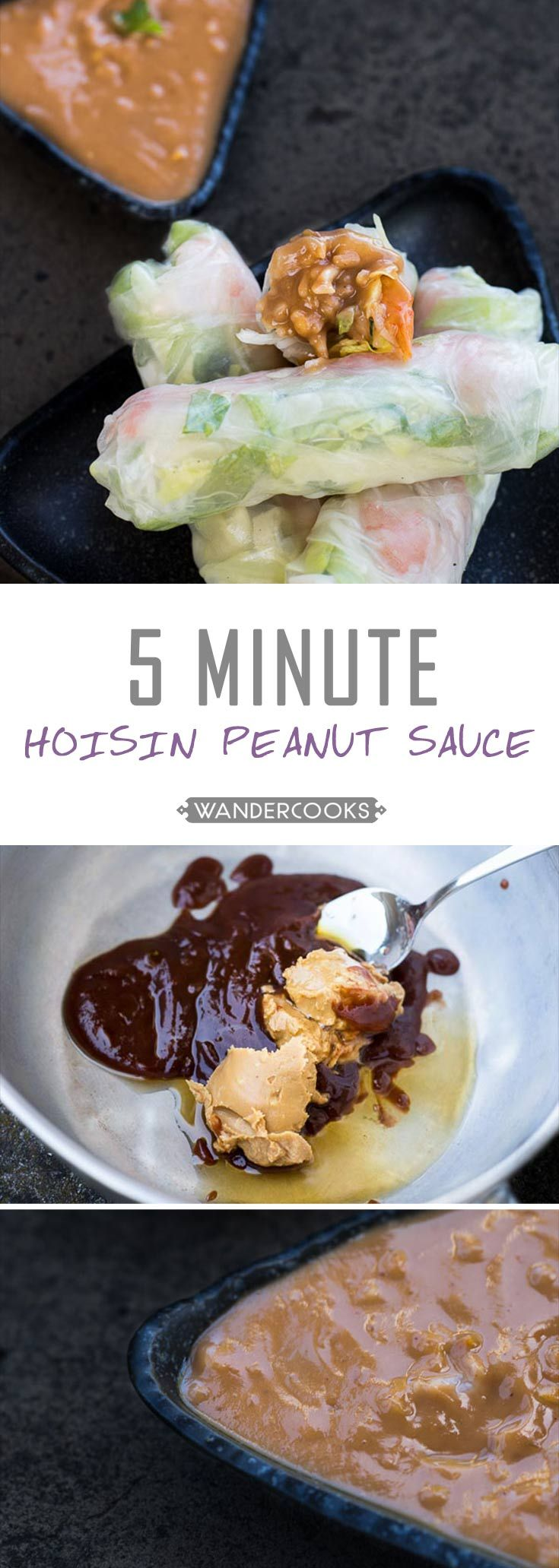 Vietnamese Peanut Hoisin Dipping Sauce - A 5 minute side dish guaranteed to make your cold rolls HAPPY. Vegetarian. | wandercooks.com