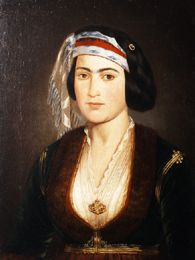 Woman's portrait by Theodoros Vryzakis, National Gallery of Athens -.- Θ. Βρυζάκη, προσωπογραφίας κόρης. Εθνική Πινακοθήκη.