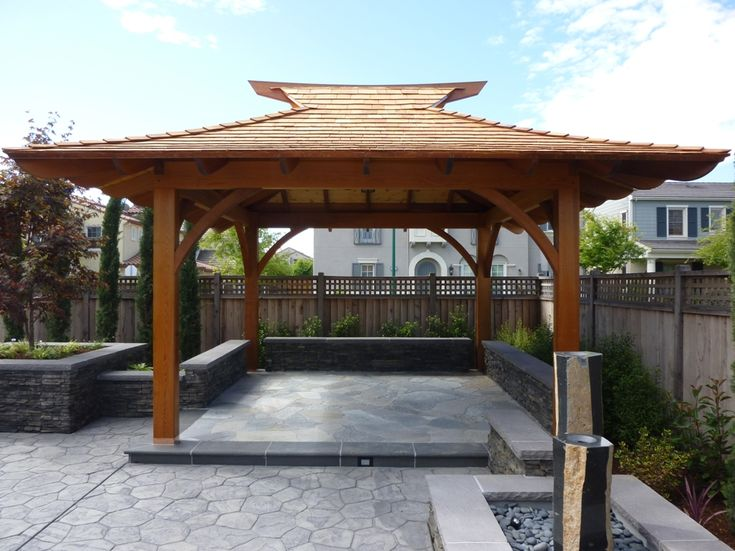 Japanese gazebo with retaining wall seating this is for Japanese gazebo plans