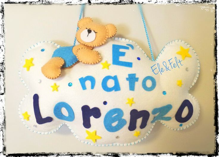 Fiocco nascita, name banner, in feltro e pannolenci - New born - Ele&Felt