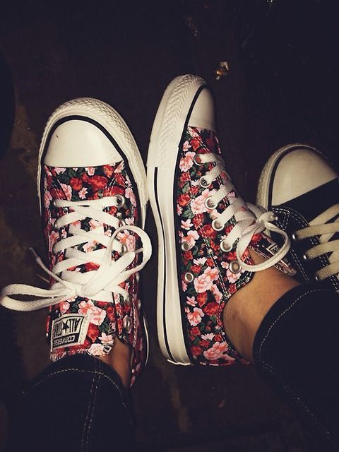 Red and pink floral converse! Great for summer nights. Add a little fun to your everyday look. #Floral