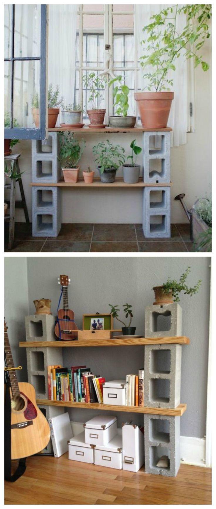 Las 25 mejores ideas sobre estantes de bloques de cemento for Jardineras con bloques de hormigon