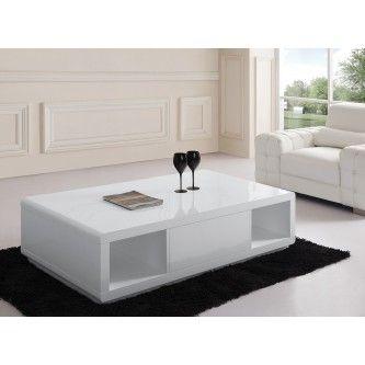 Table basse design blanc laqué avec 2 niches et 1 tiroir central de rangement Alanis