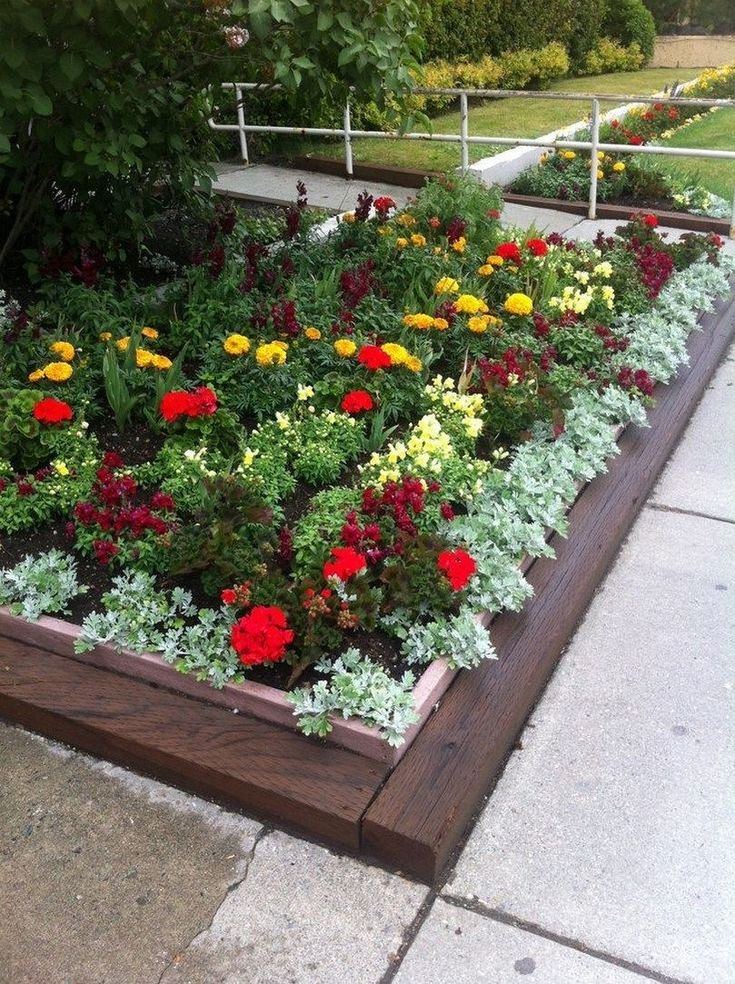 53 beautiful flower beds in front of house design ideas 48