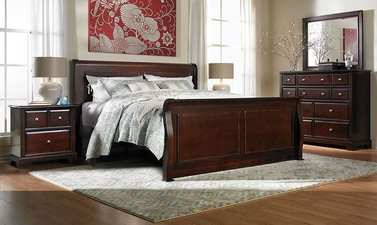 Bedroom furniture set with cherry stained solid poplar construction.