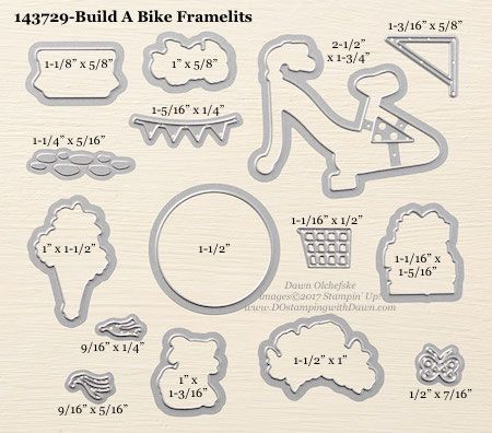 Stampin' Up! Build A Bike Framelit Dies sizes shared by Dawn Olchefske #dostamping
