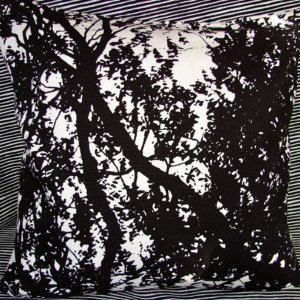 """Black and White Tuuli , """"The Wind"""" cotton pillow cushion case, 18x18"""", 45x45cm, from Finland"""