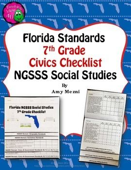 Florida Standards NGSSS 7th Grade Social Studies ChecklistNeed an easy way to keep track of covering the standards in your 7th grade social studies classroom?  This is a layered flap books with the standards for social studies.  These books are easy to assemble. ($)