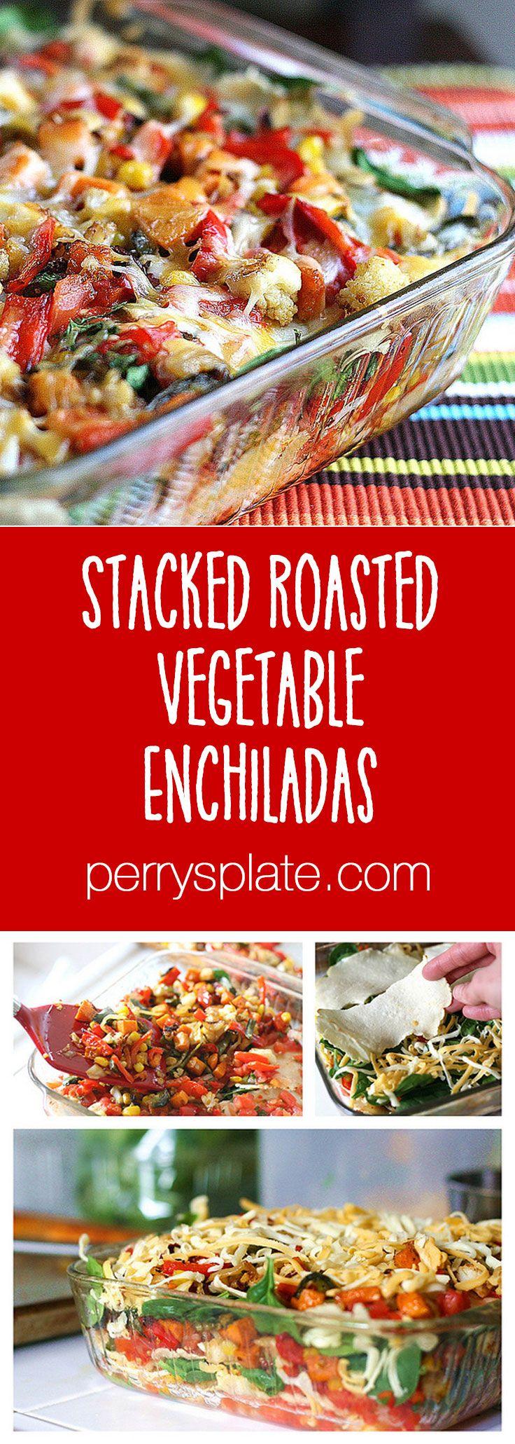 Stacked Roasted Vegetable Enchiladas | enchilada recipes | gluten-free recipes | roasted vegetable recipes | perrysplate.com
