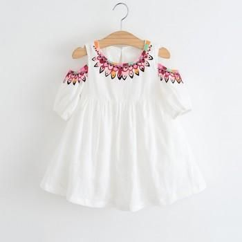 Sweet Floral Cold-shoulder Ruffle Short Sleeves Dress for Girl