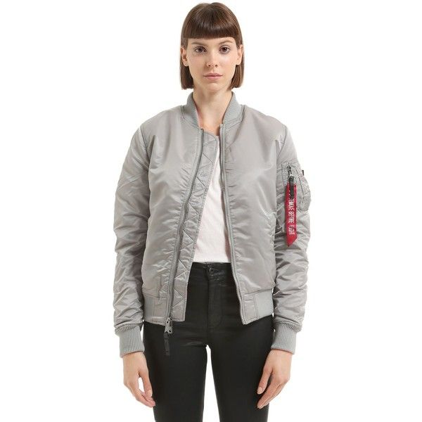 Alpha Industries Women Reversible Nylon Bomber Jacket (215 AUD) ❤ liked on Polyvore featuring outerwear, jackets, silver, zip front jacket, bomber jackets, nylon bomber jacket, reversible jacket and nylon jacket