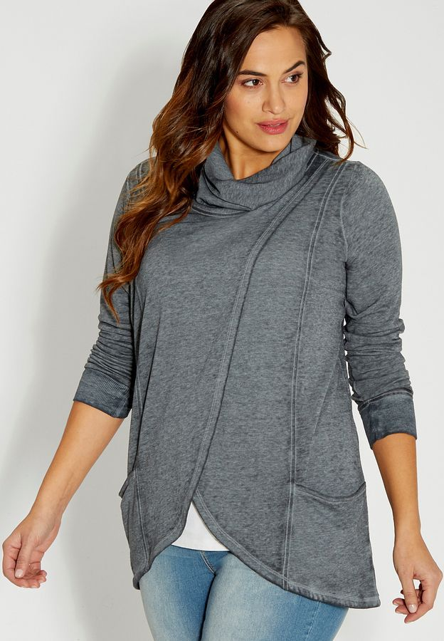 Plus size burnwash sweatshirt with wrap front and pockets