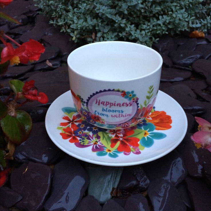 Hrnek na cappuccino s podšálkem Botanical Garden, porcelán #BotanicalGarden #hrnek #mug #cappuccino #giftware