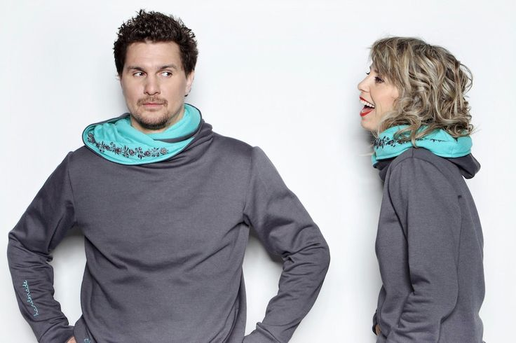Embroidered pullover with scarflike hoodie/ by matyodesign on Etsy, $75.00