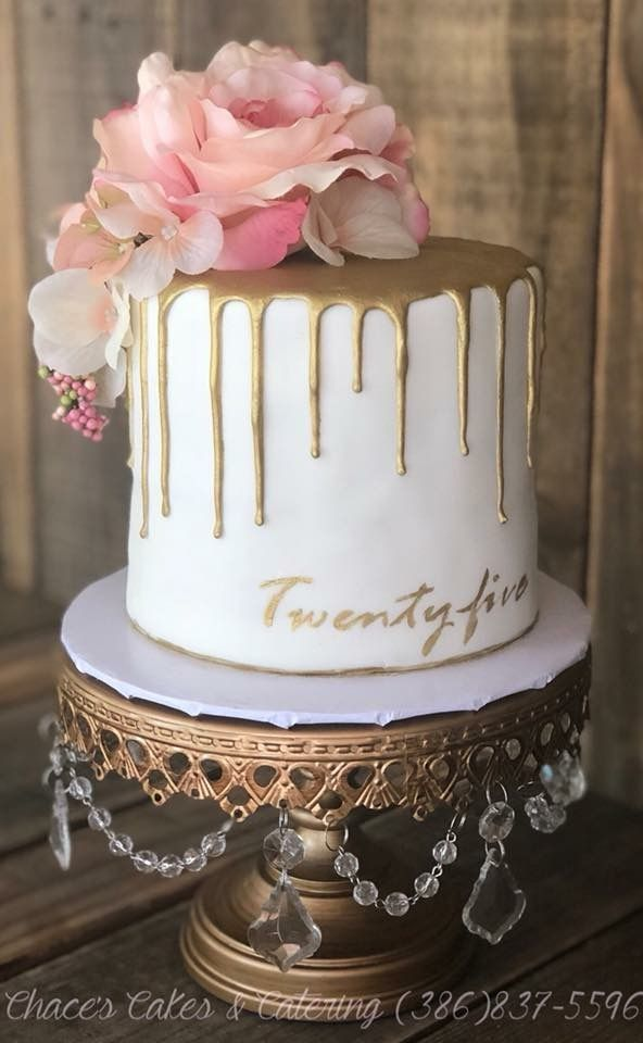 Fabulous Gold Dripped 25Th Birthday Cake S Facebook Com Funny Birthday Cards Online Alyptdamsfinfo