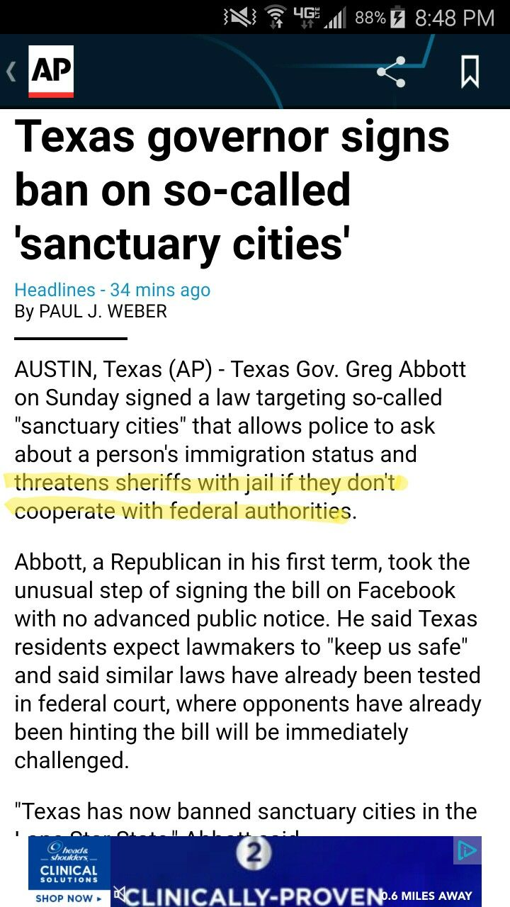 So, it has now come down to the politicians threatening the very lives of our police officers with jail time if they don't abide by this dictatorial law. This goes way beyond normal disciplinary measures. This is the beginning of a totalitarian state in which the ruling class threatens the peacekeepers - do our bidding or suffer the consequences. Shameful. Time for leaders like Abbott and the Texas legislature to go. Anybody ready for the uprising, yet?