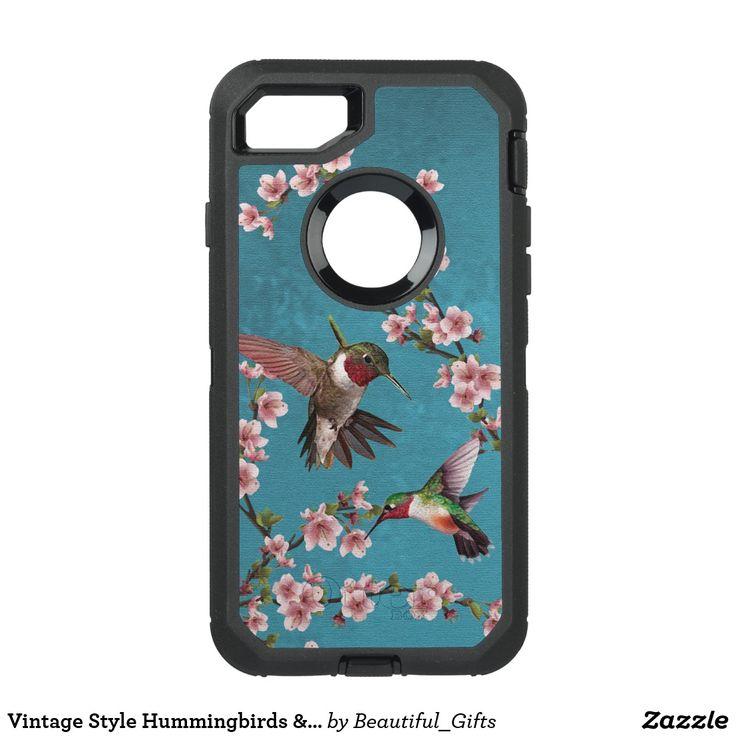 Vintage Style Hummingbirds & Blossoms OtterBox Defender iPhone 7 Case