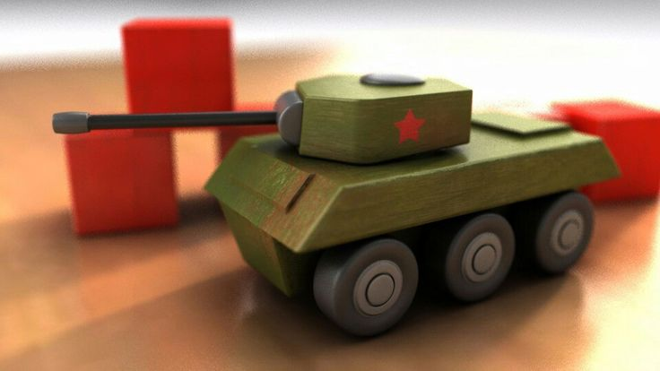 Wooden toy tank by Mark Seberini. Modelled and rendered in Autodesk Maya
