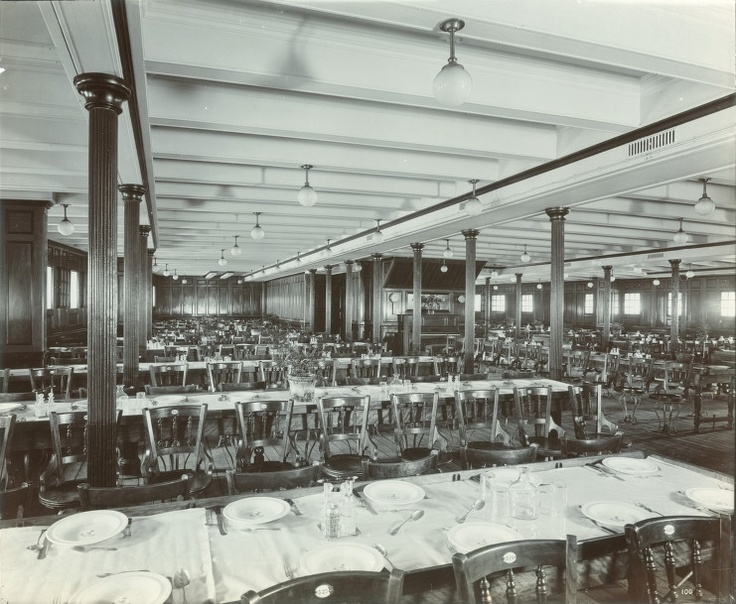 Interior Of The Lusitania, 1905 1907 Third Class Dining Room. Titanic ... Part 87
