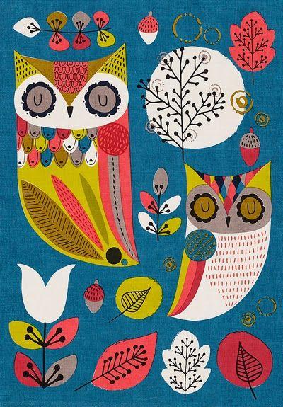 print & pattern blogs tea towel from m&s 'owls'