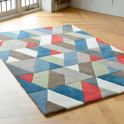 Click to zoom - Chevron multicoloured rug large
