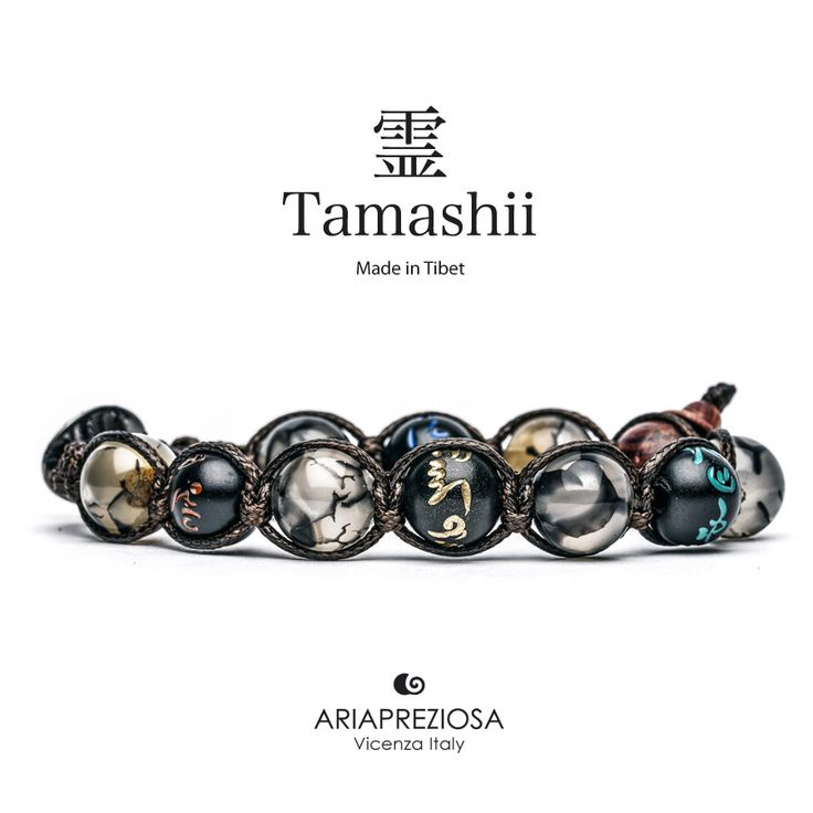 Tamashii - Bracciale originale tibetano (tg. L) realizzato con pietre naturali Agata Grigia Cracked e legno orientale autentico con SIMBOLI MANTRA incisi a mano