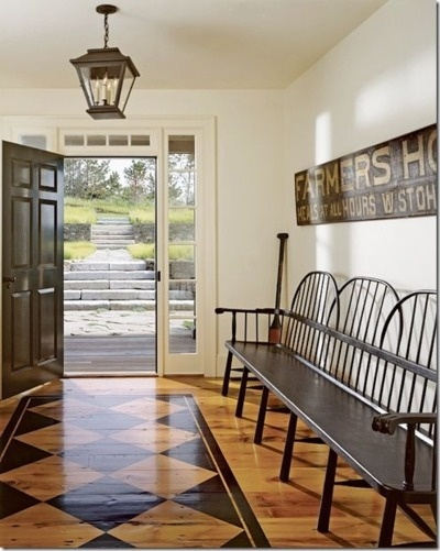 Painted Black And White Checkered Wood Floors Entryway