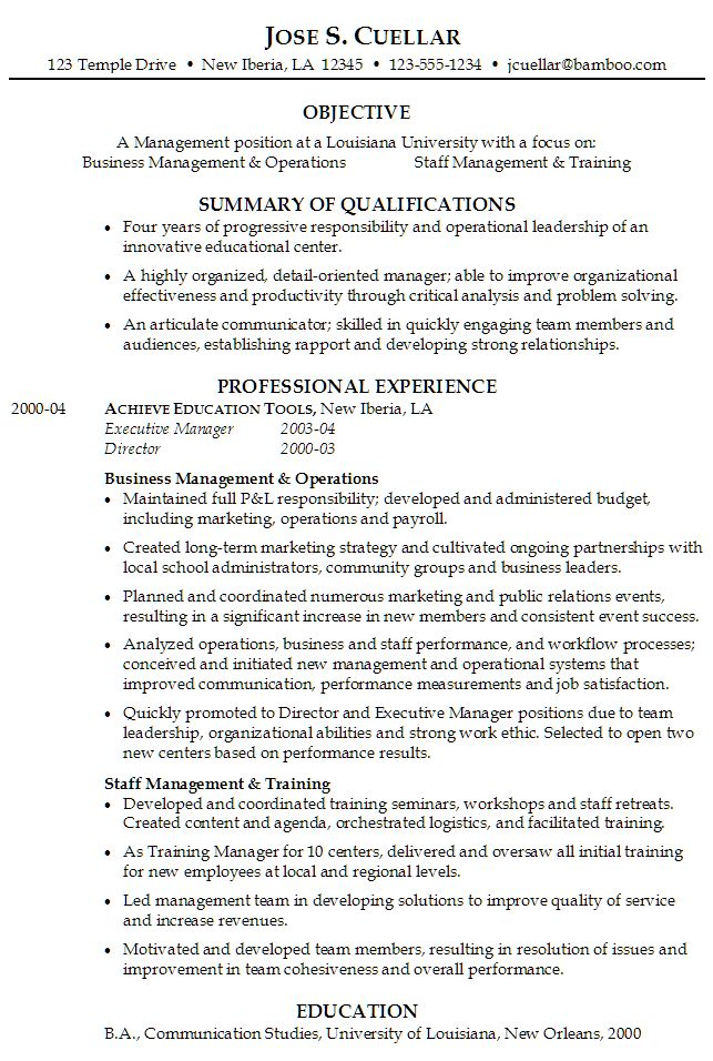 The 25+ best Resume objective sample ideas on Pinterest Good - Management Analysis Sample