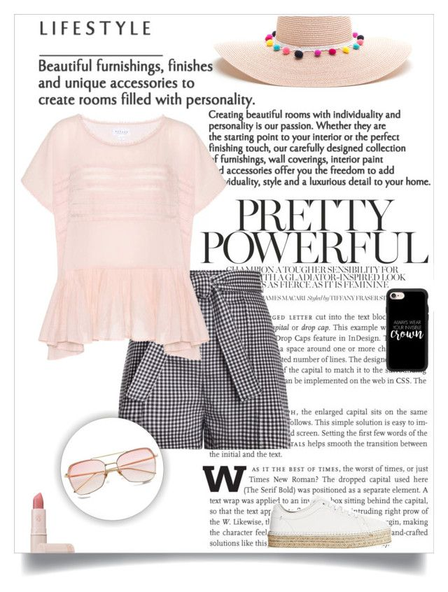 """""""Gingham short , pink top & pom pom hat 🌼🌸"""" by andriana-aaa on Polyvore featuring Zimmermann, Velvet, rag & bone, Lipstick Queen and Casetify"""