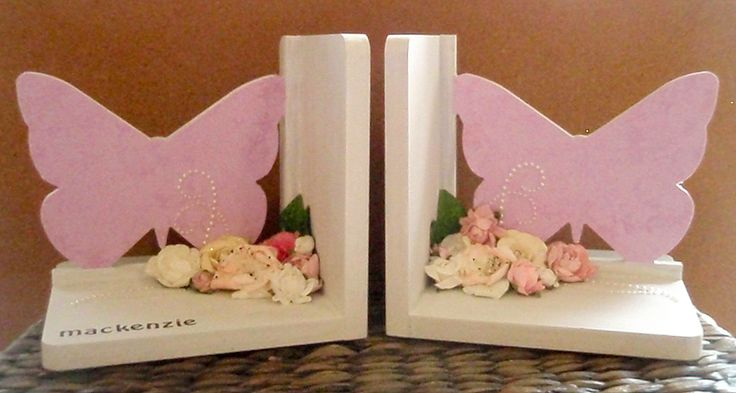White and pink butterfly bookends